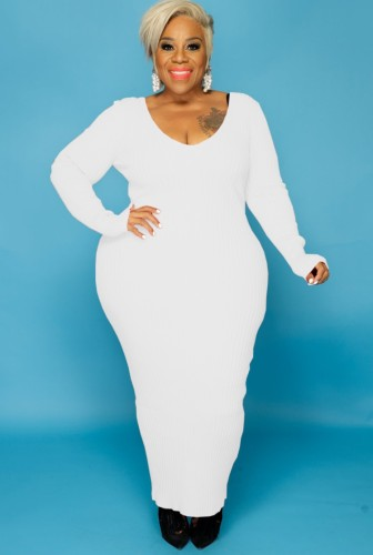 Fall Plus Size White V Neck Long Sleeve Long Dress