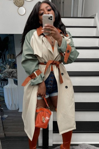 Fall Fashion Contrast Begie And Green Long Sleeve Button-Open Long Coat