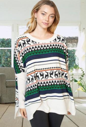 Winter Christmas Jacquard Long Sleeve Round Neck Slit Loose Sweater