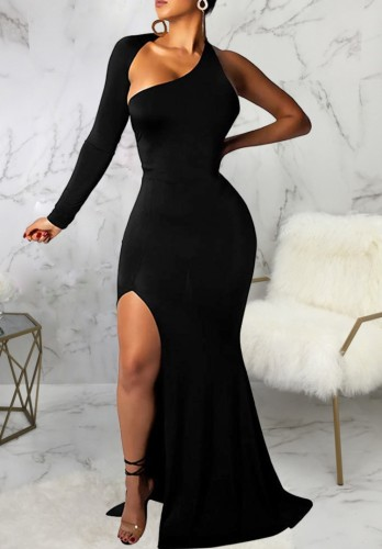 Winter Sexy Black Single Long Sleeve Split Mermaid Evening Dress