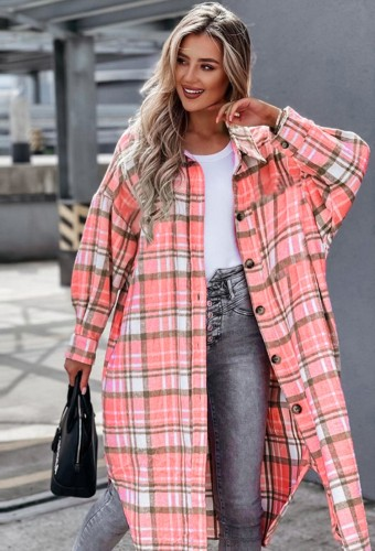 Fall Casual Red Plaid Turndown Collar Button Up Loose Long Shirt