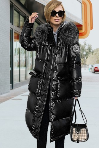 Winter Casual Black Long Puffer Jeacket with Fur Collar