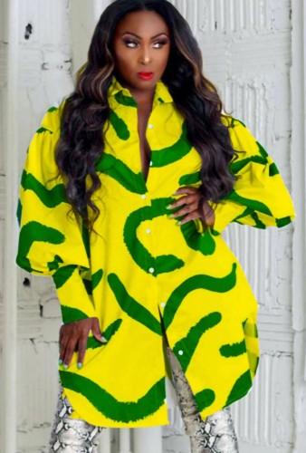 Fall Casual Green Stripes Printed Yellow Puff Sleeve Loose Shirt Dress