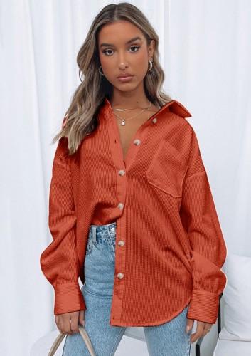 Winter Trendy Orange Corduroy Button Up Long Sleeve Loose Shirt
