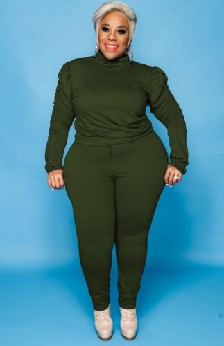 Güz Büyük Beden Yeşil Yüksek Yaka Fırfırlı Uzun Kol Ve Pantolon İki Parça Takım