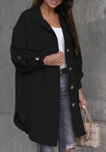 Winter Casual Fashion Black Pocket Button Long Sleeve Long Coat