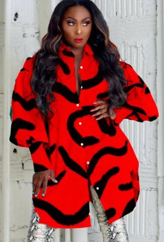 Fall Casual Black Stripes Printed Red Puff Sleeve Loose Shirt Dress