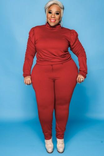Sonbahar Büyük Beden Kırmızı Yüksek Yaka Fırfırlı Uzun Kol Ve Pantolon İki Parça Takım