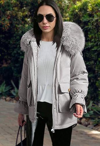 Winter Casual Gray Short Loose Parka Coat with Fur Collar