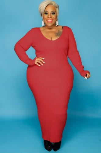 Fall Plus Size Red V Neck Long Sleeve Long Dress
