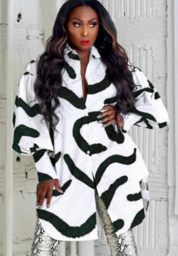 Fall Casual Black Stripes Printed White Puff Sleeve Loose Shirt Dress