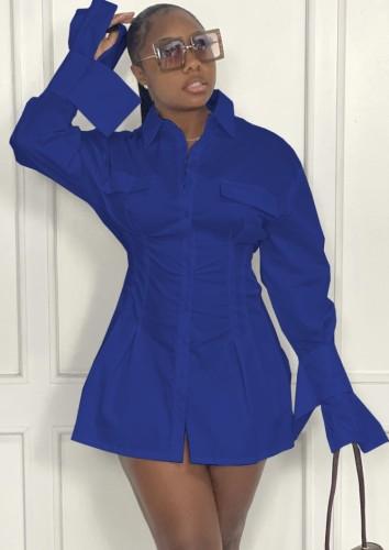 Fall Fashion Blue Long Sleeve Nipped Waists Shirt