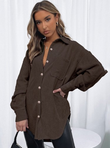 Winter Trendy Brown Corduroy Button Up Long Sleeve Loose Shirt