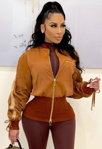 Winter Fashion Yellow Ribbed Zippers Long Sleeve Drawstring Jacket