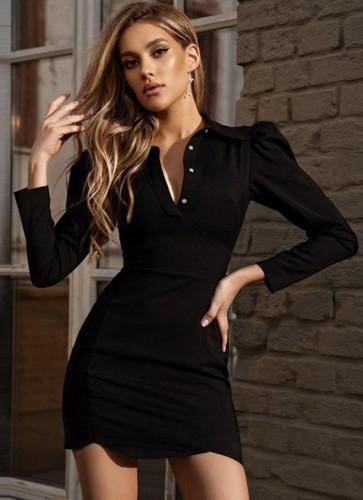 Fall Sexy Black Turndown Collar Puff Sleeve Bodycon Dress