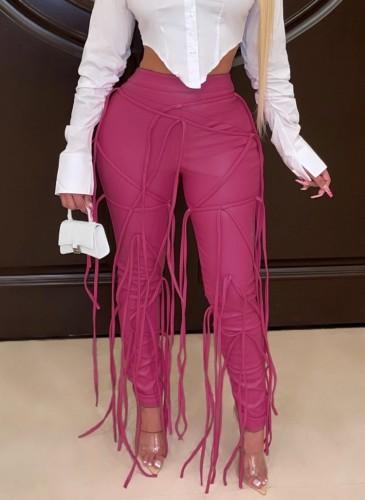 Pantalone invernale con fasciatura con nappe rosa sexy