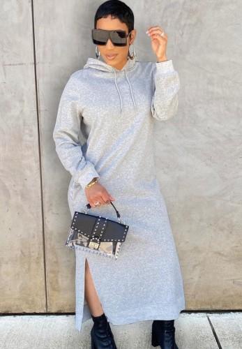 Winter Casual Grey Long Sleeve With Hood Slit Long Dress