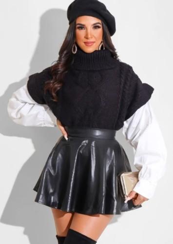 Fall Sexy Black PU leather Mini Full Skirt