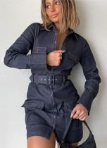 Fall Trendy Dark Blue Button Up Long Sleeve Pocket Denim Dress with Belt