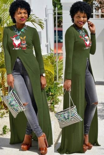 Christams Casaul Green Print Long Sleeve Silt Long Dress