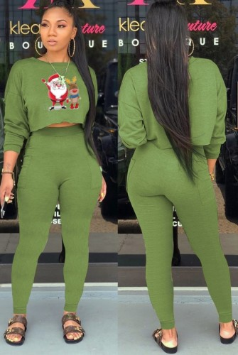 Christams Casaul Green Print Long Sleeve And Pant Two Piece Set
