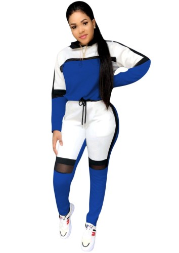 Fall Sports Blue Contrast Long Sleeve Two Piece Seatsuits