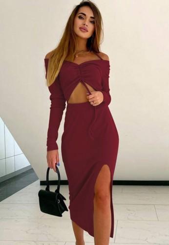 Fall Sexy Red Halter Off Shoulder KeyHole Split Long Dress