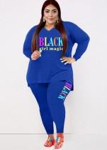 Conjunto de pantalones ajustados y camisa suelta azul con estampado de letras casuales de talla grande de otoño