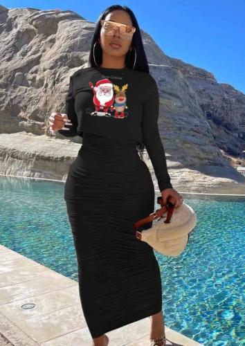 Christams Casaul Black Print Long Sleeve Top And Shrinked Long Dress Set
