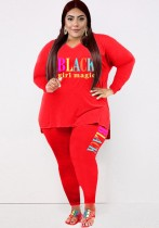 Conjunto de pantalones ajustados y camisa suelta roja con estampado de letras casuales de talla grande de otoño