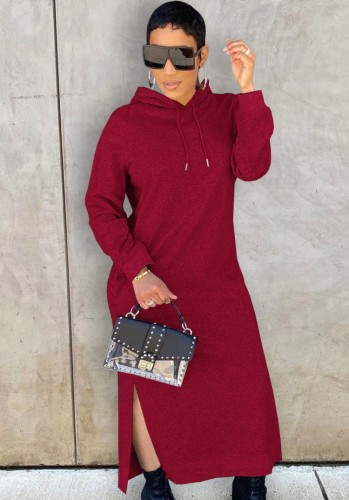 Winter Casual Red Long Sleeve With Hood Slit Long Dress