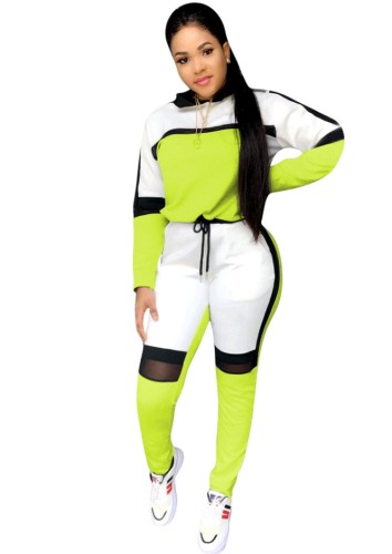 Fall Sports Green Contrast Long Sleeve Two Piece Seatsuits