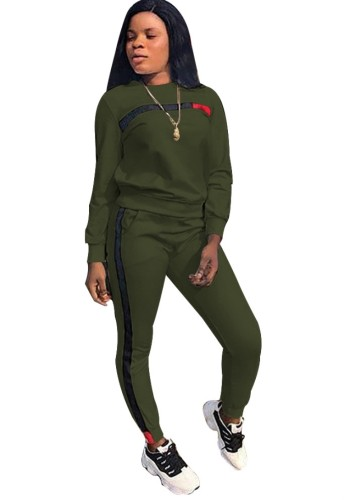Fall Casual Green Contrast Round Neck Long Sleeve Jogger Two Piece Sweatsuits
