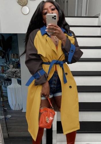 Fall Fashion Contrast Kahaki And Brown Long Sleeve Button-Open Long Coat