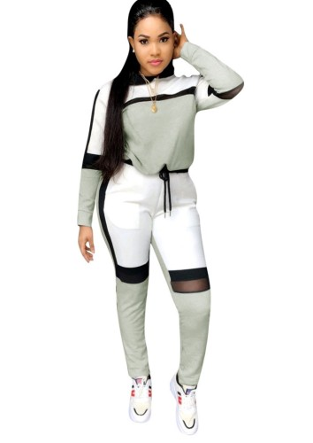 Fall Sports Gray Contrast Long Sleeve Two Piece Seatsuits