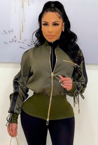 Winter Fashion Green Zippers Long Sleeve Drawstring Jacket