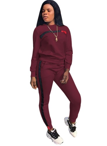 Fall Casual Burgundy Contrast Round Neck Long Sleeve Jogger Two Piece Sweatsuits