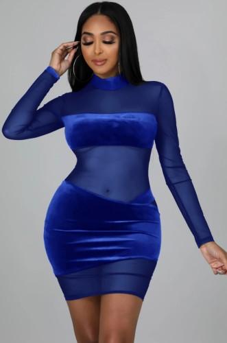 Güz Seksi Mavi Transparan Yüksek Boyun Uzun Kollu Midi Elbise