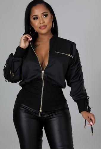Winter Fashion Black Ribbed Zippers Long Sleeve Drawstring Jacket