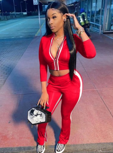 Fall Sexy Red Contrast Zipper Crop Two Piece Tracksuit