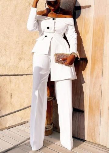 Fall Elegant White off shoulder Irregular Career Blazer Pants Set