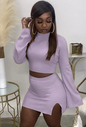 Fall Sexy Purple Tight Crop Top and Split Mini Skirt Set