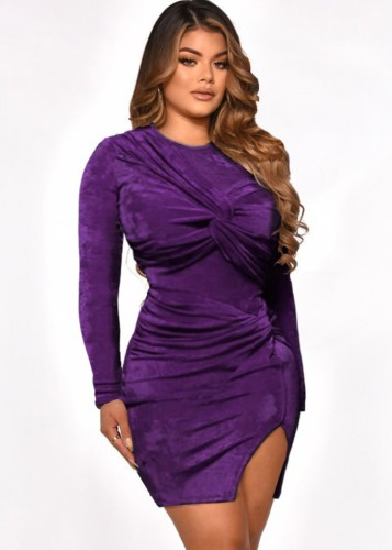 Fall Sexy Purple Velvet Ruched Tight Top and Split Mini Skirt Set
