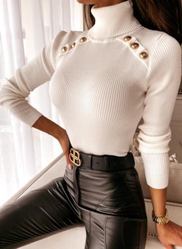 Winter White High Collar Gloden Button Long Sleeve Swearter