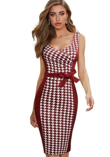 Vestido de escritório elegante com remendo xadrez vermelho elegante sem mangas