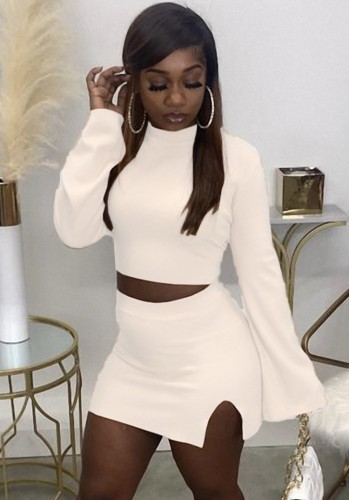 Fall Sexy White Tight Crop Top and Split Mini Skirt Set