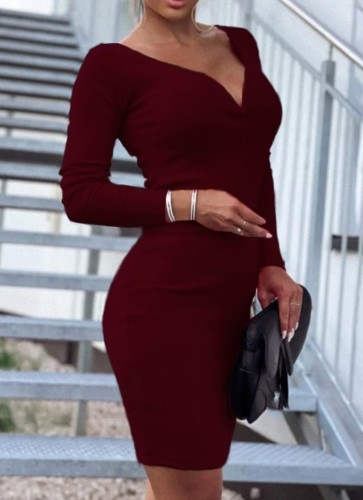 Fall Sexy Dk-Red Deep V-Neck Long Sleeve Midi Ress