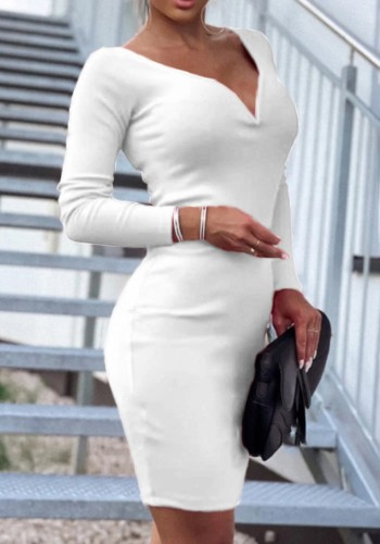Fall Sexy White Deep V-Neck Long Sleeve Midi Ress