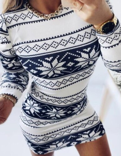Christmas Sexy Round Neck Long Sleeve Midi Dress
