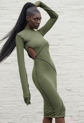 Fall Sexy Green Line Design Hollow Out Long Sleeve Long Dress